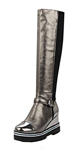 Stiefel Mit Gefüttert Fell (YE Damen Winter Wedges Keilabsatz Langschaft Stiefel mit Fell Schnallen High Heels Plateau KnieHoch 9cm Absatz warm gefüttert Boots)