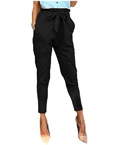 StyleDome Mujer Pantalones Pitillo Oficina Deportivos Cordón Lazo Moda Elegantes Bolsillos Negro EU...
