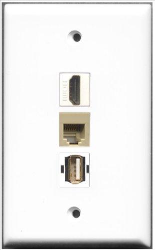 RiteAV-1-Port, HDMI, RJ11, RJ12, beige + 1Port USB A-A + 1Ports) -