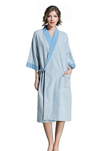 Unisex Bademantel Nachtwäsche Kimono Saunamantel Robe Kimono Sleepwear V-Ausschnitt Schlafanzug Aus Baumwolle para Damen Herren , 002 (Schalkragen-waffel-bademäntel)