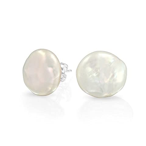 Argent 925 Bijoux fantaisie la perle de culture d'eau douce Coin Pushback Suite Nuptiale Stud