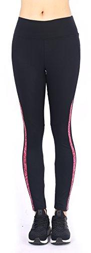Neonysweets Legging Femme Silm Long Pantalon Yoga Exercice Taille Normale Noir