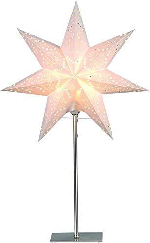 """Best Season Standleuchte Stern""""Sensy Mini 55"""", Metall/Papier, circa 55 x 34 cm, Vierfarb-Karton, crème 234-22"""