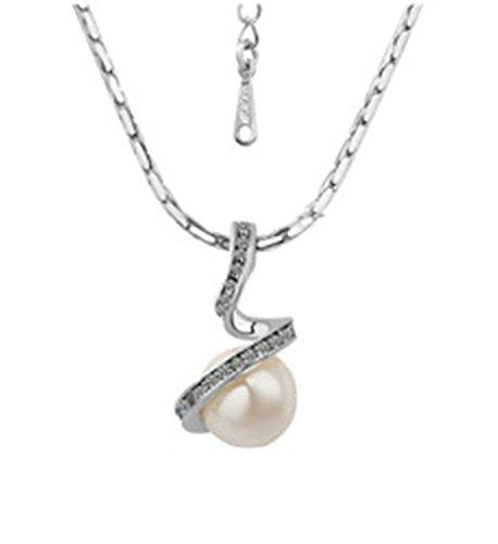 Onefeart Vergoldet Anhänger Mädchen Halskette Für Frauen,Zirkonia Weiß Perle Mit Kette 40x2.6x1.6CM