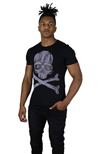 GOLDENIM PARIS T-Shirt John Homme - Tete de Mort Effet Velour (XL)