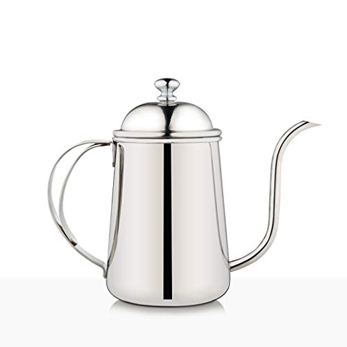 IAIZI Hand-washed Coffee Pot, Fine Mouth Pot, Palace Pot, Stainless Steel Household, Teapot, Long Mouth, Drip-type Watering Can. (Color : Silver)
