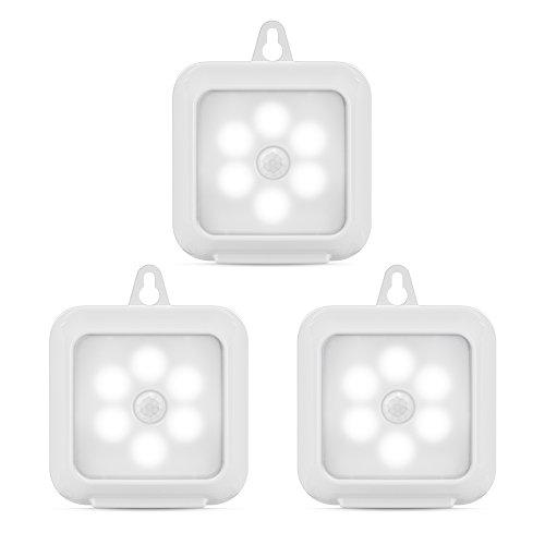 3 pcs LED Bewegungsmelder Licht Motion Sensor Night Light Led Nachtlicht mit Bewegungsmelder mit 3M Klebepads(Quadratisches Weiß)