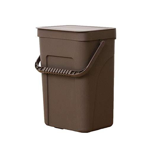 1949shop Mülleimer, Punch-Free Wand tragbare Lagerung Mit Deckel Haushaltsabfallbehälter, 10L Flip Cover Design Mülleimer Für Badezimmer Küche Wohnzimmer (Farbe: BRAUN) Flip Cover-deckel
