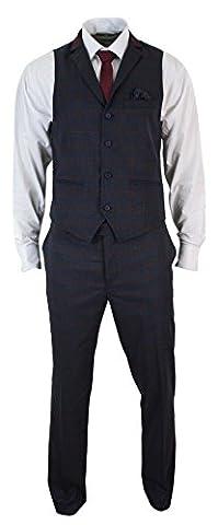 Ensemble costume pantalon gilet homme tweed bleu à carreaux grenats et chevrons coupe cintrée slim look vintageEnsemble costume pantalon gilet homme tweed bleu à carreaux grenats et chevrons coupe cintrée slim look vintage