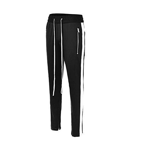 ONCEGALA Herren-Stripe Knöchel-Reißverschluss-lange Kordelzug Techno Track Pants (Schwarz/Weiss, M) (Pant Slim Stripe)