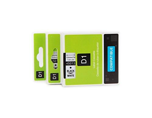 2er Schriftband Kassette kompatibel für Dymo D1 45013 S0720530 Beschriftungsbänder Schriftbandkassette Schriftbänder Etikettenband 12mm x 7m Schwarz auf Weiß für LabelManager LabelPoint LabelWriter für DYMO LabelPOINT & LabelManager LM100/LM120P/LM150/LM160/LMPC2/LM200/LM210D/LM220P/LM260/LM280/LM300/LM350/LM400/LM260P/LM350D/LM360D/LM420P/LM450/LP350/LP100/LP150/LP200/LP250/LP300/PC/PC2/PnP/PnP WiFi/ LW400/LW450 Duo