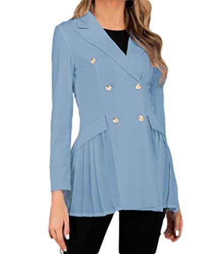 CuteRose Women's Double Breasted Solid Mid-Long Peplum Slim Jacket Blazer Light Blue M Double Breasted Coat Petite
