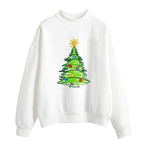 Geili Weihnachts Pullover Damen Mädchen Weihnachtsmann Gedruckt Santa Sweatshirt Christmas Sweater Frauen Rundhals Langarm Weihnachten Pulli Bluse Tshirt Tops Festlich Kostüm M-2XL (Paar Pullover Weihnachten)