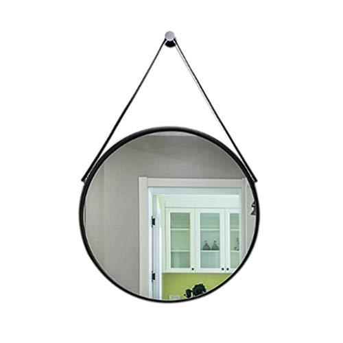 ZM-Bathroom mirror Runder Badezimmer-Wand-Berg-Spiegel, nordischer minimalistischer kreativer Make-upspiegel - Rahmen PU-Polyurethan wasserdicht und feuchtigkeitsfest - 60x60cm (Farbe : Schwarz) -