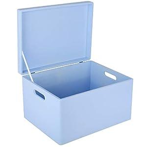 Creative Deco XXL Blau Große Holzkiste Aufbewahrungsbox Spielzeug | 40 x 30 x 24 cm (+/- 1cm) | Mit Deckel zum…