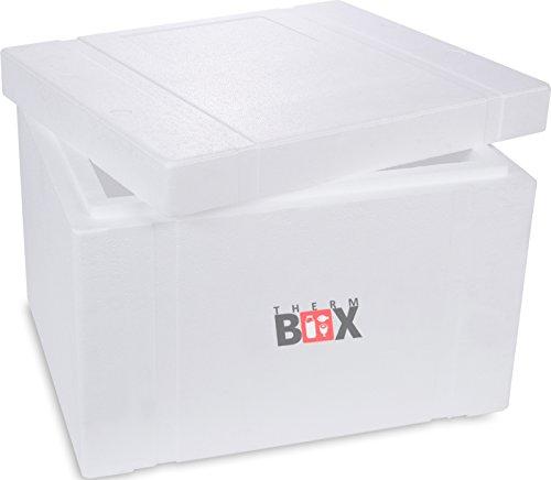 THERM BOX Styroporbox mit Deckel - Thermobox für Essen & Getränke - Styropor Kühlbox & Warmhaltebox (57,5x48x40cm - 53,24L Volumen)