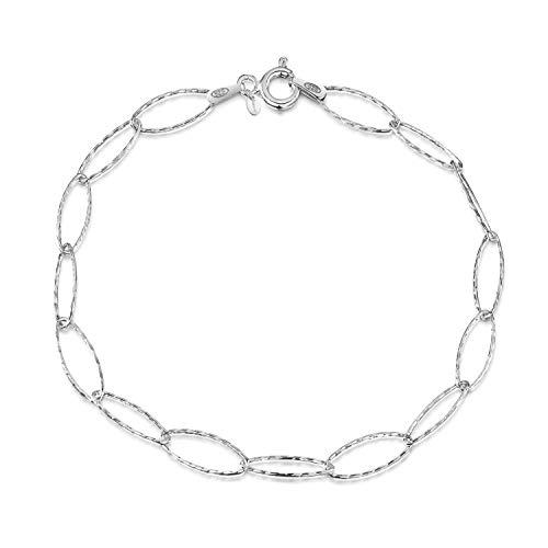 2862f0f2b672 Amberta Joyería - Pulsera - Fina Plata De Ley 925 - Cadena de Eslabones -  6.3