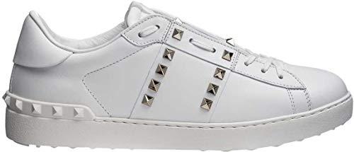 Valentino Herren Mens Untitled Rockstud Leder Spikes Schuhe Sneaker Turnschuhe Farbe: Weiss Größe: 41,5