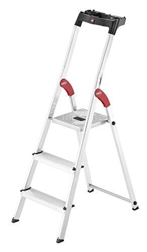 Hailo L60 StandardLine Alu-Sicherheits-Stehleiter, 3 Stufen, Ablageschale, belastbar bis 150 kg, made in Germany, 8160-307