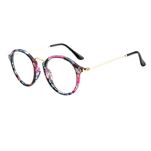 REALIKE Unisex Brille Elegant Flacher Spiegel Runder Rahmen Brillengestell Brille Leopardenmuster-Brillengestell Aus,Anti-Blaulichtbrille, Farbe Mehrfache - Chopper Star Wars Kostüm