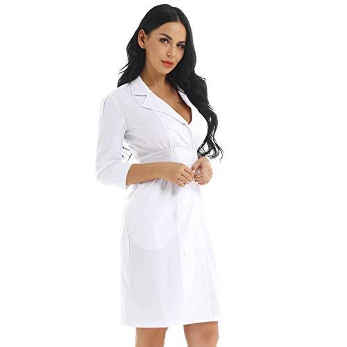 iixpin Krankenschwester-Kostüm - für Erwachsene/Damen Mini Kleid Cosplay Kostüme Verkleidung Weiß Medium