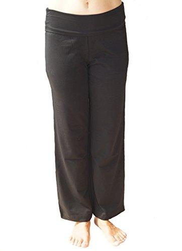 Natur Damen Schwangerschaft Hose Bio-Baumwolle Stillhose Umstandshose Umstandsmode Freizeithose Schlafanzughose (S, schwarz)