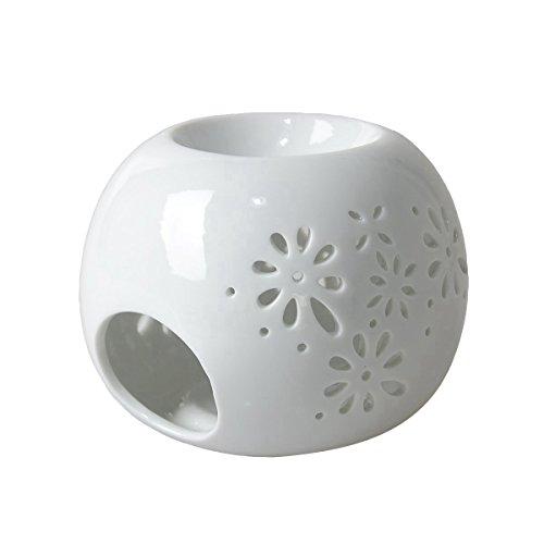 HwaGui Personalisierte Öl Diffusor Duft Teelicht Aromatherapie Öl Brenner Wachs schmilzt Halter für Inneneinrichtungen, weiß [MEHRWEG]
