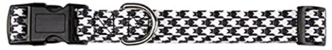 East Side Collection Houndstooth Bat Collar for Pets, 10 to 16-Inch, White