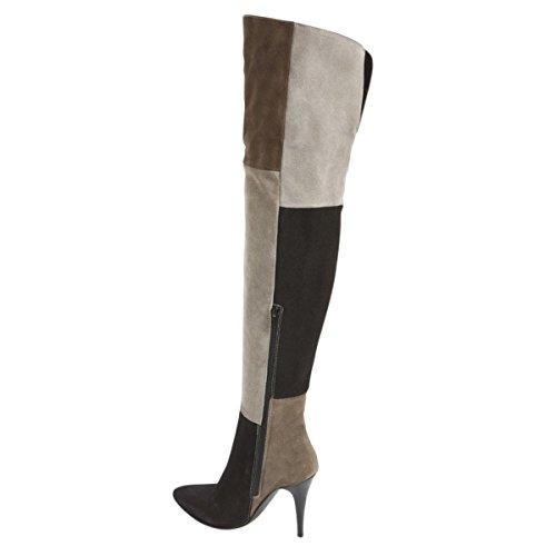 Damen Spitze Zehen High-Heels Stiletto Samt Langschaft Stiefeletten Overkneestiefe Beige