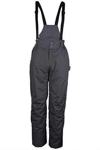 Mountain warehouse dusk pantaloni da sci da uomo - pantaloni da sci con due tasche, ghette da neve, vita in elastico e fondi inferiori idrorepellenti grigio scuro s