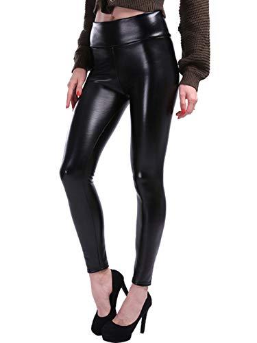 GARYOB Damen Stretch PU Leder Leggings Plus Samt Lederhose Herbst und Winter Hüfthoch Schlank Kunstleder Hose (S-5XL)