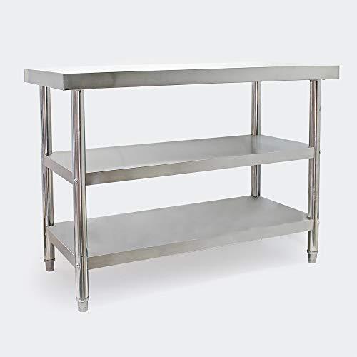 Edelstahl Arbeitstisch 120x60x85cm mit 2 Ablagen und höhenverstellbaren Tischfüßen