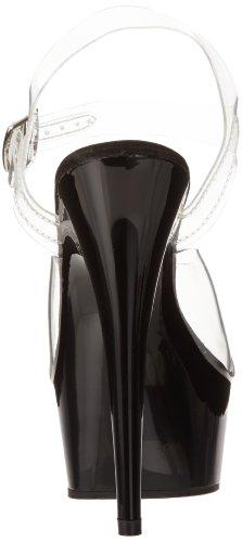 Pleaser - Del608/C/M, Sandali da donna Multicolore(Clear/Black)