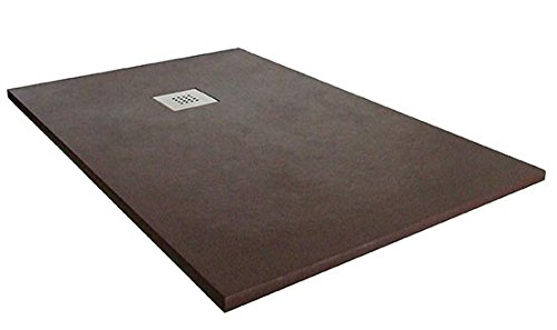 Plato ducha resina textura pizarra. 70×150 cm. Marrón Ral. 8017