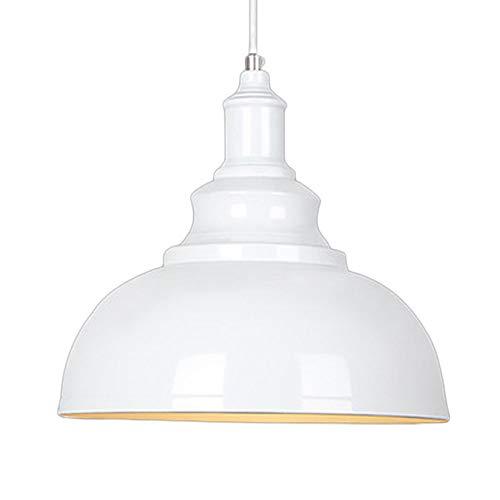 Vintage Suspension Luminaire Industrielle E27 Ø29cm,Rétro Métal Lustre Abat-jour Lampe Plafonnier Eclairage Installation (Blanc)