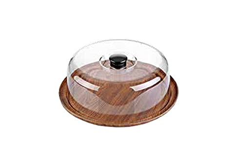 Country House Cake Dish with Plastic Cover Colour Design Wood Effect Wood Diameter 30.5cm, height 10.5cm/Dishwasher Safe/Serving Platter, Round