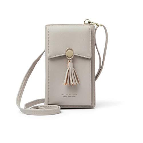 HMILYDYK Frauen Brieftasche Cross-Body Tasche Leder Geldbörse Handy Mini-Tasche Kartenhalter Schulter Brieftasche Tasche (Tassel beige) - Tasche Brieftasche