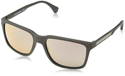 Emporio Armani Unisex EA4047 Sonnenbrille, Mehrfarbig (grey/brown rubber 53054Z), Medium (Herstellergröße: 56)