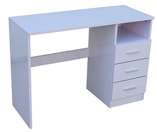 Mmt, scrivania moderna in legno di eccellente qualità, con 3 cassetti con finitura bianco lucido, e spazioso scomparto, adatta alla casa e all'ufficio, perfetta per bambini, studenti e adulti