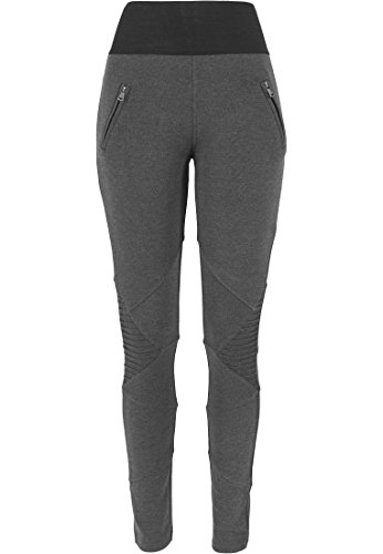 Urban Classics Damen Sport Legging Leggings Interlock High Waist mehrfarbig (Charcoal/Schwarz) Small