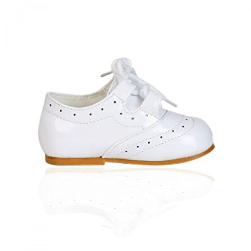 Mädchen Lackleder Schnürschuhe Brautjungfern Party Förmliche Schuhe Baby Größen UK1-UK8 Weiß
