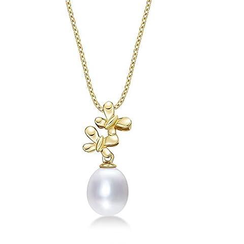 Twin Butterfly Pearl Drop Anhänger Halskette mit Single 8–8,5mm weiß Süßwasser Perle Set in luxuriöser 9K Gelb Gold