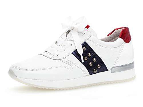 Gabor Damen Low-Top Sneaker 24.421.20, Frauen Halbschuh,Schnürschuh,Strassenschuh,Business,Freizeit,Weiss/Night/Rosso,38.5 EU / 5.5 UK