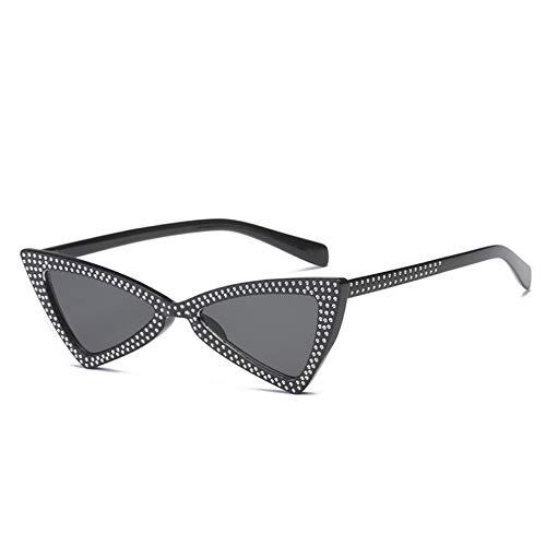 MJDABAOFA Sonnenbrillen,Mode Schwarzen Rahmen Graue Linse Klein Cat Eye Sonnenbrille Frauen Crystal Dreieck Sonnenbrille Vintage Butterfly Sunglass Schattierungen Brillen
