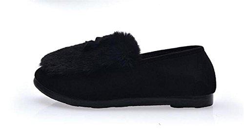 LDMB Women 's Lange Plüsch Baumwolle Schuhe Indoor-Hausschuhe Winter Pantoffeln Black