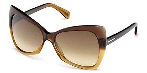 Tom Ford Für Frau 0175 Nico Dark Brown Gradient / Gradient Brown Kunststoffgestell Sonnenbrillen