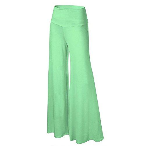 Happy Lily Damen Yoga-Hose / Palazzo-Hose, hohe Taille, verführerisches Design, weite und lange Beine  Gr. Medium, lightgreen (Navy-yoga-hosen Old)