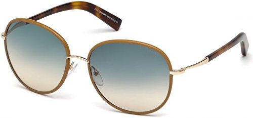 Tom Ford - GEORGIA FT 0498, Rechteckig, Metall, Damenbrillen, BEIGE HORN/LIGHT BLUE SHADED(60W),...