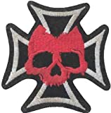 Aufnäher, am Iron on Patch Biker Skull Red Cross Malta (Kreuz Eisernes Kreuz Emblem ()