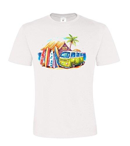 Ethno Designs Streetwear - Greenie - VW Bus - Hippie und Surfer T-Shirt für Männer - regular fit, white, Größe L